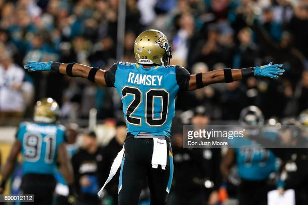 A general view of the back of Cornerback Jalen Ramsey of the Jacksonville Jaguars celebrating a broken up play during the game against the Seattle...