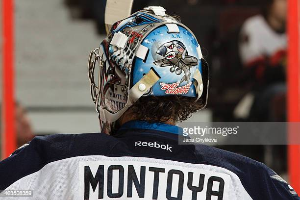 General view of the back of the mask of Al Montoya of the Winnipeg Jets during an NHL game against the Ottawa Senators at Canadian Tire Centre on...