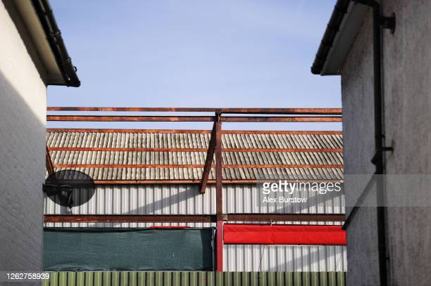 A general view of the back of the New Road stand seen in a gap between houses prior to the Sky Bet Championship Play Off Semifinal 2nd Leg match...