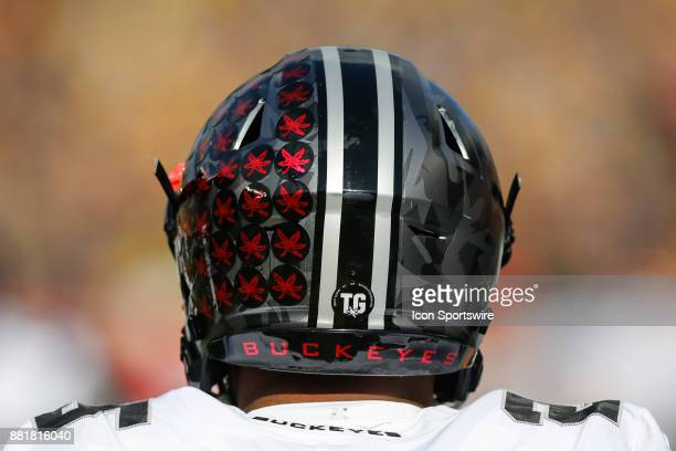 A general view of the back of the Ohio State football helmet during game action between the Ohio State Buckeyes and the Michigan Wolverines on...
