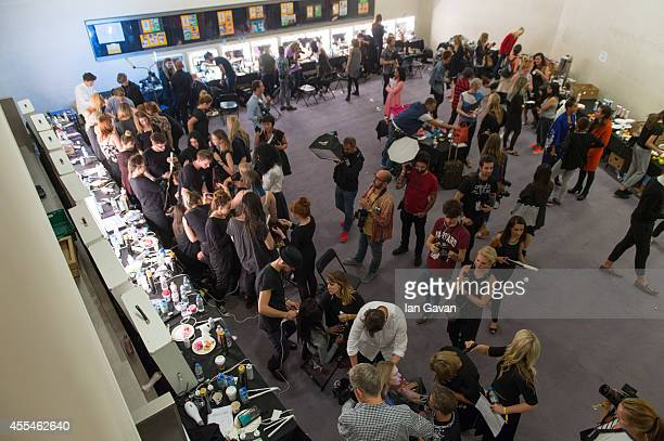General view of the backstage area at the Jonathan Saunders show during London Fashion Week Spring Summer 2015 on September 14, 2014 in London,...