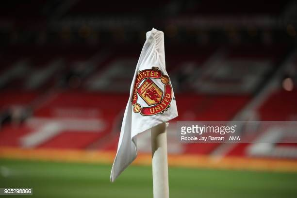 A general view of the badge on a Manchester United corner flag during the Premier League match between Manchester United and Stoke City at Old...