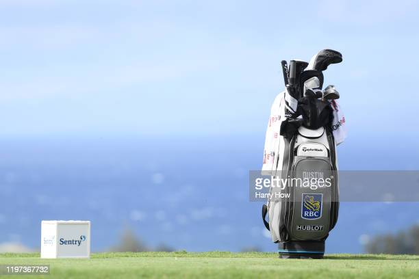 A general view of the bag of Dustin Johnson of the United States on the fifth tee during the second round of the Sentry Tournament Of Champions at...
