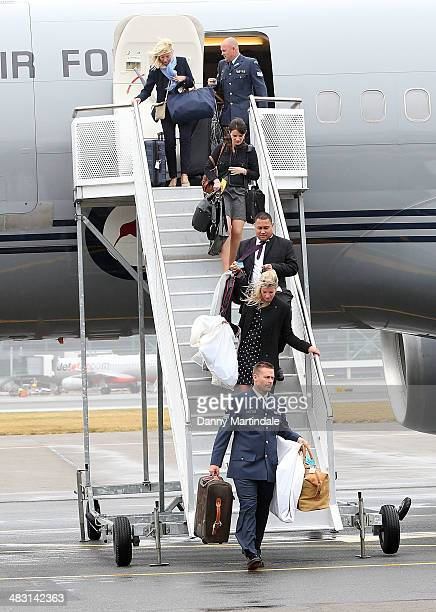 General view of the baggage coming off the plane during Prince George of Cambridge Catherine Duchess of Cambridge and Prince William Duke of...