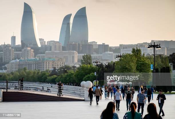 General view of the Baku Boulevard, a pedestrian promenade near to Baku's seafront, is seen on May 13, 2019 in Baku, Azerbaijan.