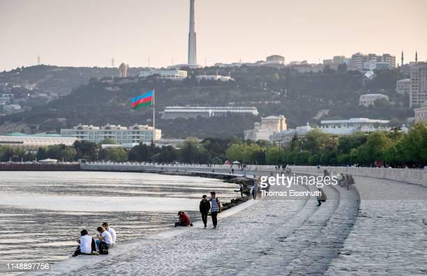 A general view of the Baku Boulevard a pedestrian promenade near to Baku's seafront is seen on May 13 2019 in Baku Azerbaijan
