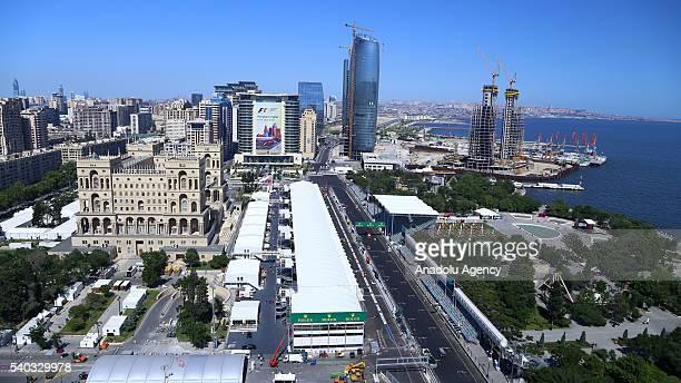 A general view of the Baku street circuit in Baku Azerbaijan on June 15 2016 The 2016 Formula One Grand Prix of Europe will take place between June...