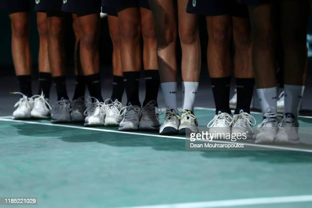 General view of the ball boys and girls socks as they wait for the doubles trophy presentation on day 7 of the Rolex Paris Masters, part of the ATP...