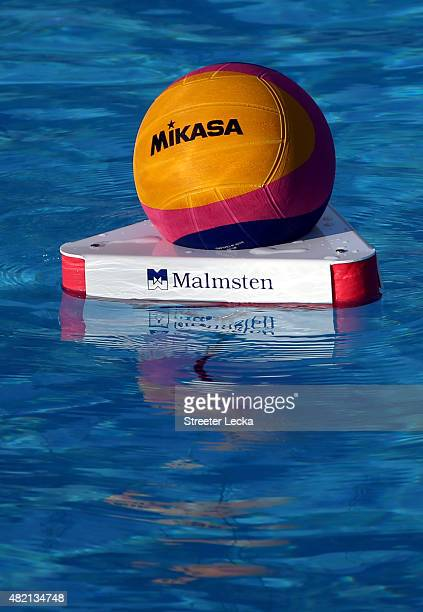 A general view of the ball during the Men's Water Polo Preliminary Round group C match between Hungary and Kazakhstan on day three of the 16th FINA...
