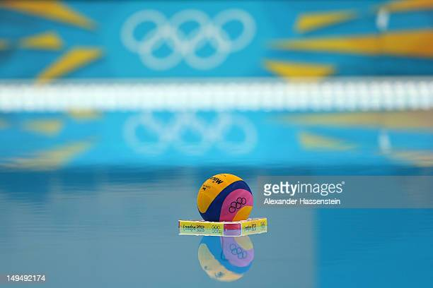 General view of the ball on the pool water ahead of the Men's Water Polo Preliminary Round Group B match between Romania and Great Britain on Day 2...