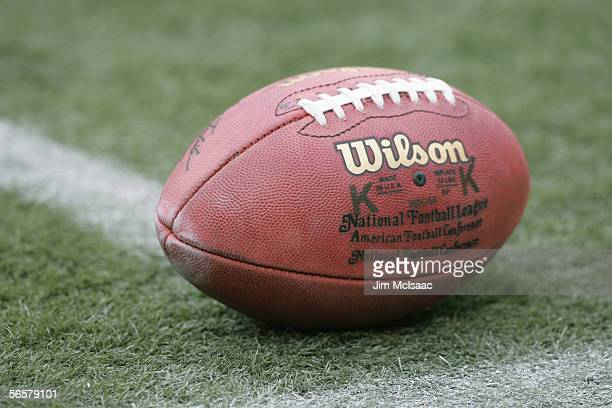 A general view of the ball taken during the game between the Oakland Raiders and the New York Jets on December 18 2005 at Giants Stadium in East...