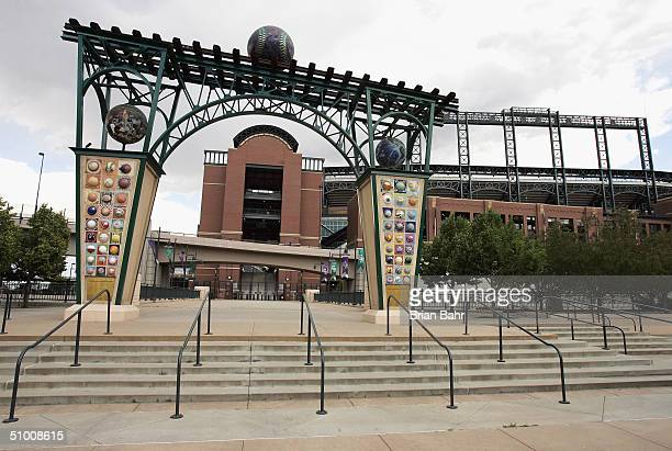 A general view of the ball themed archway leading to Coors Field home of the Colorado Rockies on June 14 2004 in Denver Colorado