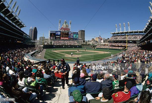 A general view of the ballpark from the field boxes as spectators watch the MLB game between the Kansas City Royals and the Cleveland Indians on...