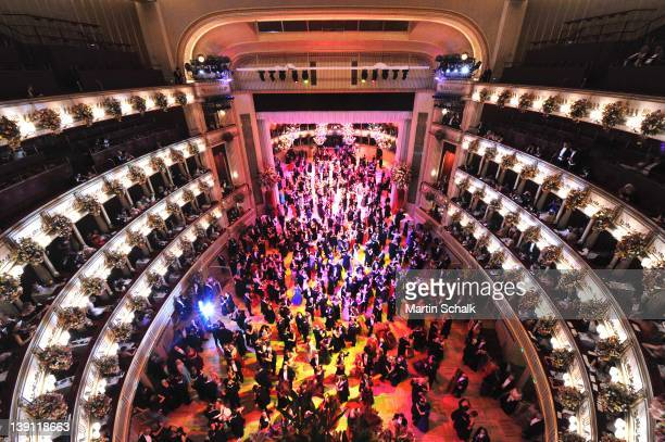 General view of the ballroom of traditional Vienna Opera Ball at the Vienna State Opera on February 16, 2012 in Vienna, Austria.