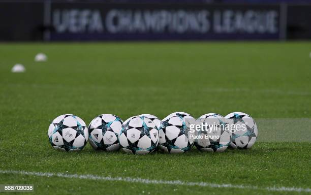 A general view of the balls before the UEFA Champions League group C match between AS Roma and Chelsea FC at Stadio Olimpico on October 31 2017 in...