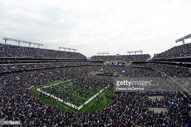 General view of the Baltimore Ravens celebrating their Super Bowl XLVII victory with fans at M&T Bank Stadium on February 5, 2013 in Baltimore,...