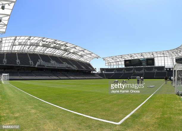 General view of the Banc of California Stadium on April 18 2018 in Los Angeles California