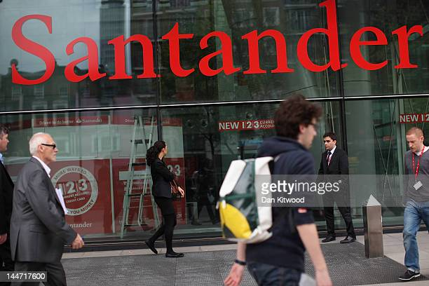 A general view of the Banco Santander Headquarters on May 18 2012 in London England Following ratings agency Moody's cut to the credit ratings of 16...