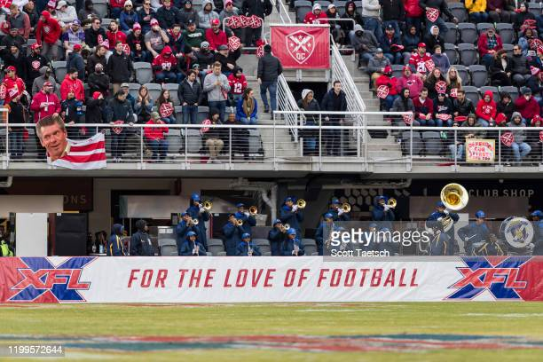 A general view of the band and fans behind the sideline wall with XFL logos and For the Love of Football during the first half of the XFL game...