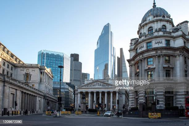 A general view of the Bank of England and the Royal Exchange at Bank with commercial skyscrapers Tower 42 22 Bishopsgate and The Leadenhall Building...
