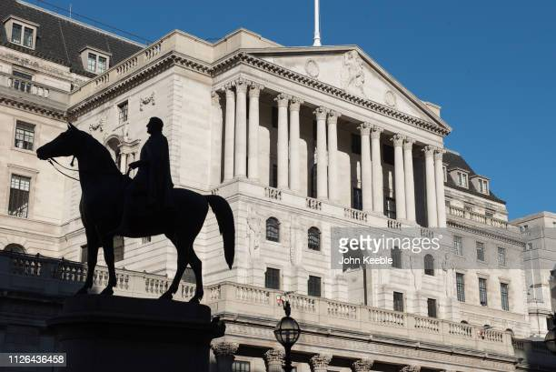 A general view of the Bank of England with the silhouette of the Equestrian statue of the Duke of Wellington on a clear blue sky on January 28 2019...