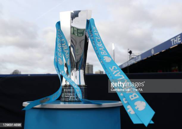 General view of the Barclays FA Women's Super League trophy seen on display at the side of the pitch prior during the Barclays FA Women's Super...