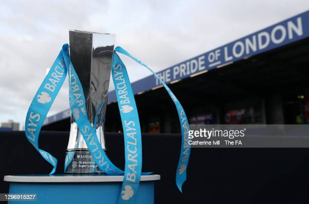 General view of the Barclays FA Women's Super League trophy seen on display at the side of the pitch prior to the Barclays FA Women's Super League...