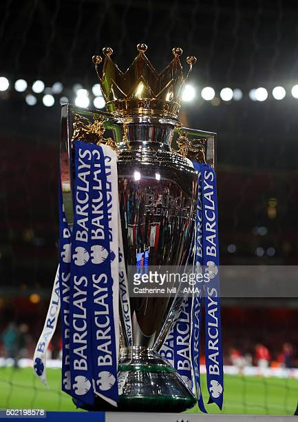 General view of the Barclays Premier League Trophy before the Barclays Premier League match between Arsenal and Manchester City at the Emirates...
