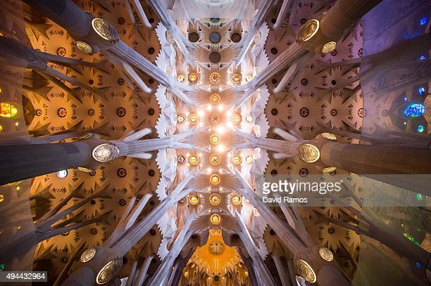 A general view of the Basilica of 'La Sagrada Familia' on October 26 2015 in Barcelona Spain 'La Sagrada Familia' Foundation announced on October 21...