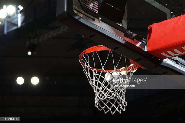 A general view of the basket during the Los Angeles Lakers and the Sacramento Kings game on April 13 2011 at Power Balence Pavilion in Sacramento...
