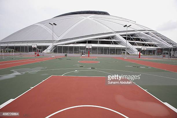 A general view of the basketball courts with the National Stadium in the background at the Singapore Sports Hub on November 01 2014 in Singapore...