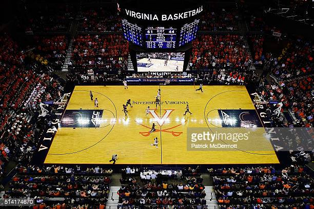 A general view of the basketball game between the Louisville Cardinals and Virginia Cavaliers in the second half at John Paul Jones Arena on March 5...