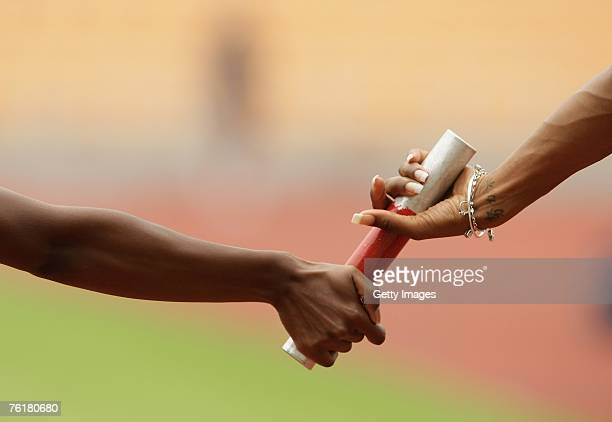 A general view of the baton change during the womens relay team practice at the Norwich Union GB Team Macau Training Camp at the Estadio de Macau on...