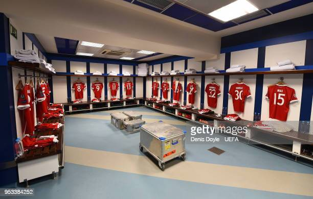 A general view of the Bayern Muenchen dressing ahead of the UEFA Champions League Semi Final Second Leg match between Real Madrid and Bayern Muenchen...