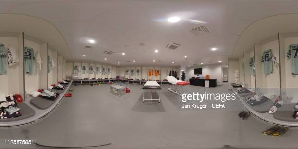 A general view of the Bayern Muenchen dressing room ahead of the UEFA Champions League Round of 16 First Leg match between Liverpool and FC Bayern...