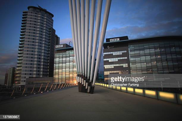 A general view of the BBC studios complex at Media City on January 30 2012 in Salford England The BBC is soon to be joined by new neighbour ITV...
