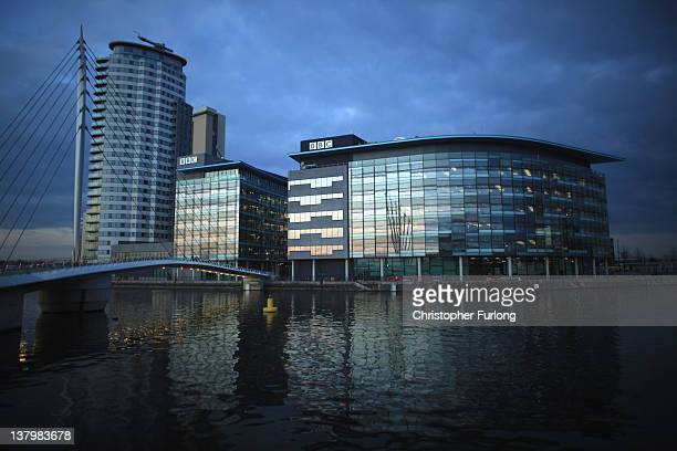General view of the BBC studios complex at Media City on January 30, 2012 in Salford, England. The BBC is soon to be joined by new neighbour ITV...