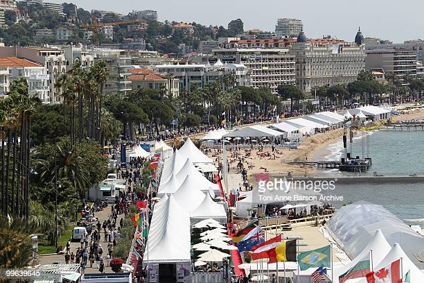 A general view of the beach and croisette during 63rd Cannes Film Festival on May 17 2010 in Cannes France