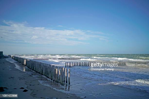 A general view of the beach at Sangatte where it is believed that migrants could launch boats to cross the English Channel on January 08 2019 in...