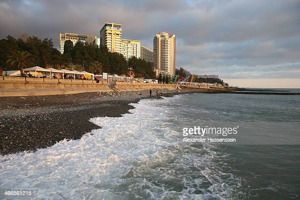 General view of the beach at Sochi sea port on February 2 2014 in Sochi Russia