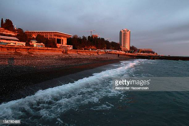 General view of the beach boulevard at Sochi sea port on February 10 2012 in Sochi Russia Sochi will host the 2014 Olympic and Paralympic Winter Games