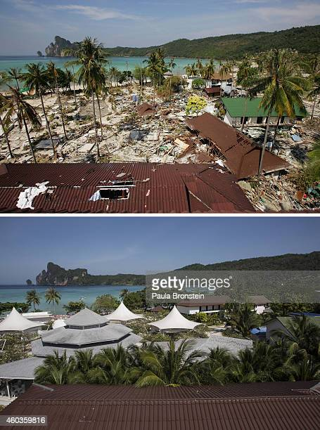 In this composite image a comparison has been made between a scene in 2004 and 2014 All over Ton Sai Bay the heart of Koh Phi Phi shops restaurants...