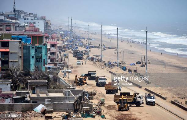 A general view of the beach side hotels destroyed in Puri in the eastern Indian state of Odisha after the cyclone 'Fani' on May 12 2019 Millions of...