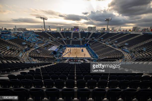 General view of the Beach Volleyball arena as Anouk Verge-Depre and Joana Heidrich of Team Switzerland take on Julia Sude and Karla Borger of Team...