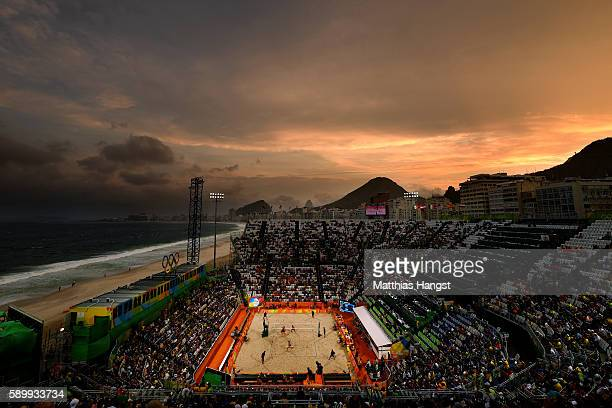 General view of the Beach Volleyball Arena during the Men's Beach Volleyball Quarterfinal match between the The Netherlands and The Netherlands on...