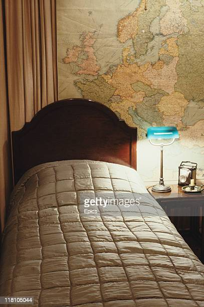General view of the bed in the bedroom of British Prime Minister Winston Churchill at the cabinet war rooms, London, circa 1990.