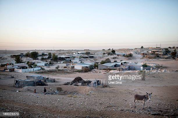 A general view of the Bedouin village of Wadi Al Na'am on October 10 2013 in Wadi Al Na'am Israel Roughly 200000 Bedouins live in the Negev desert...
