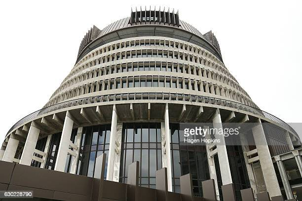 General view of The Beehive after a press conference at Parliament on December 18, 2016 in Wellington, New Zealand. Bill English was selected by the...