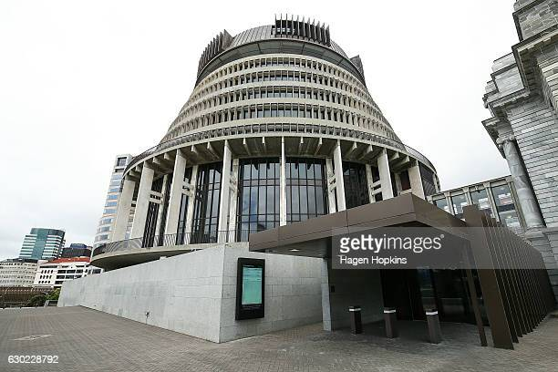 A general view of The Beehive after a press conference at Parliament on December 18 2016 in Wellington New Zealand Bill English was selected by the...