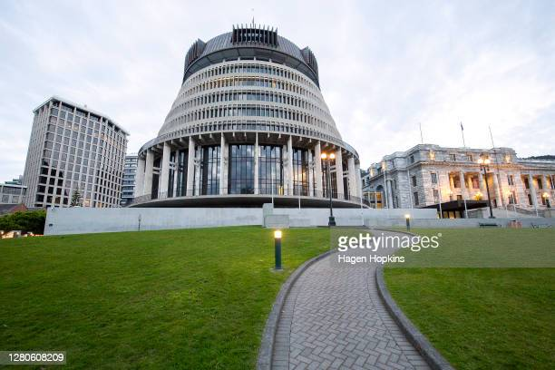 General view of The Beehive and Parliament House during election day on October 17, 2020 in Wellington, New Zealand. Voters head to the polls today...